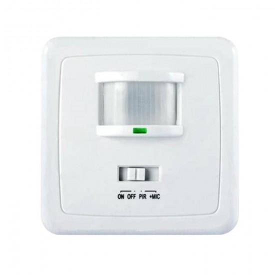 Detektor pohybu a zvuku PIR na stenu+mikrofon MCE18