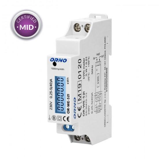 Elektromer 1-fázový LCD ORNO WE-521 s certifikátom MID