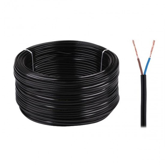 Kábel elek.H03VVH2-F 2x0,75 300/300V čierny-100m (oválny)