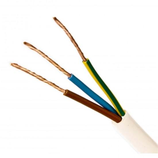 Kábel elek.H05VV-F 3x0,75 G biely-100m