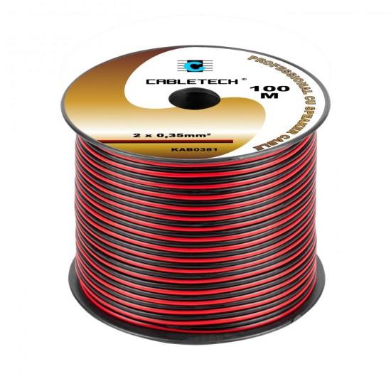 Kábel REPRO. 2x 0,35mm CU čier-červ(100m)