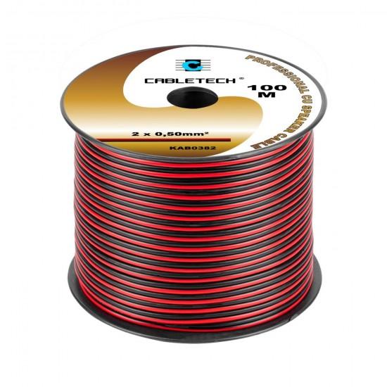 Kábel REPRO. 2x 0,50mm CU čier-červ(100m)